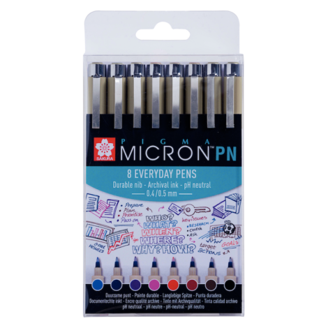 Set aus farbigen Micron PN